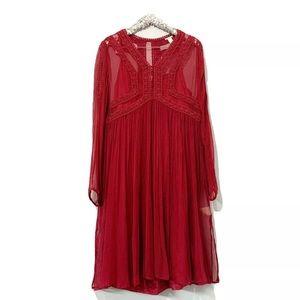 Sundance Red Embroidered Long Sleeve Dress SZ 14